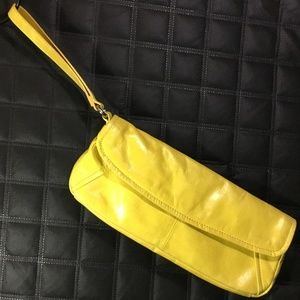 Kenneth Cole Leather Summer Yellow Clutch Purse
